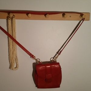 Liz Claiborne Solid Red Leather Cross Body Purse